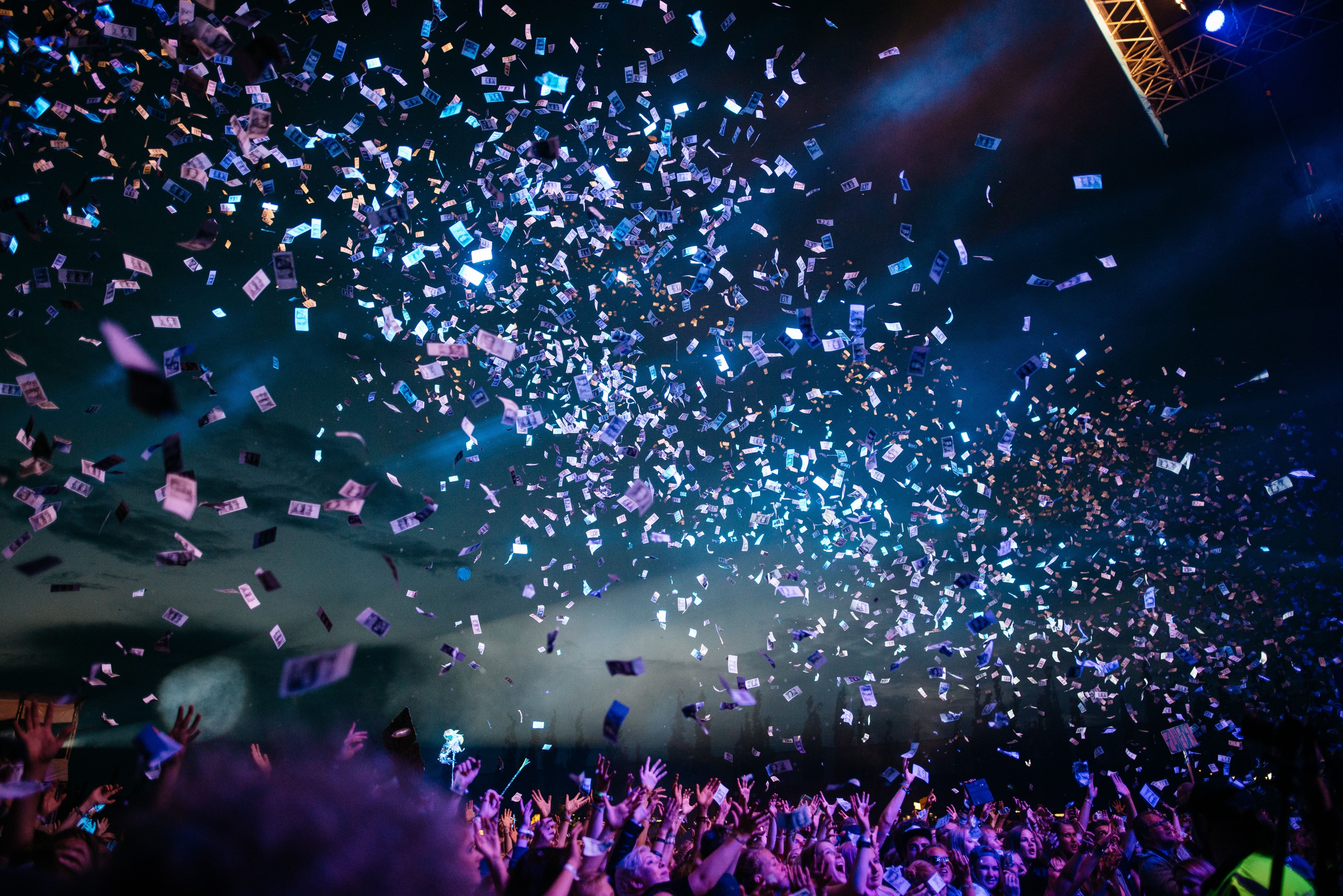 Confetti Flying Over an Event