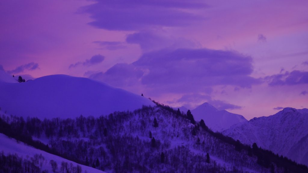Snowy Mountain with Purple Sky